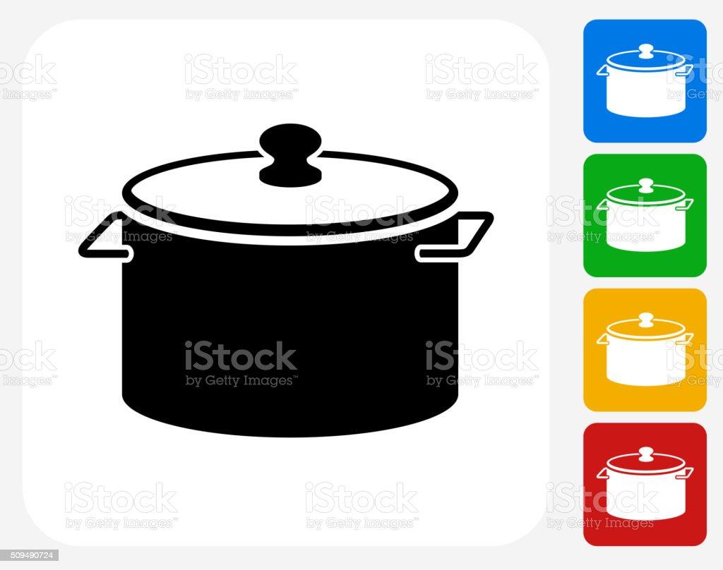 Pot Icon Flat Graphic Design vector art illustration
