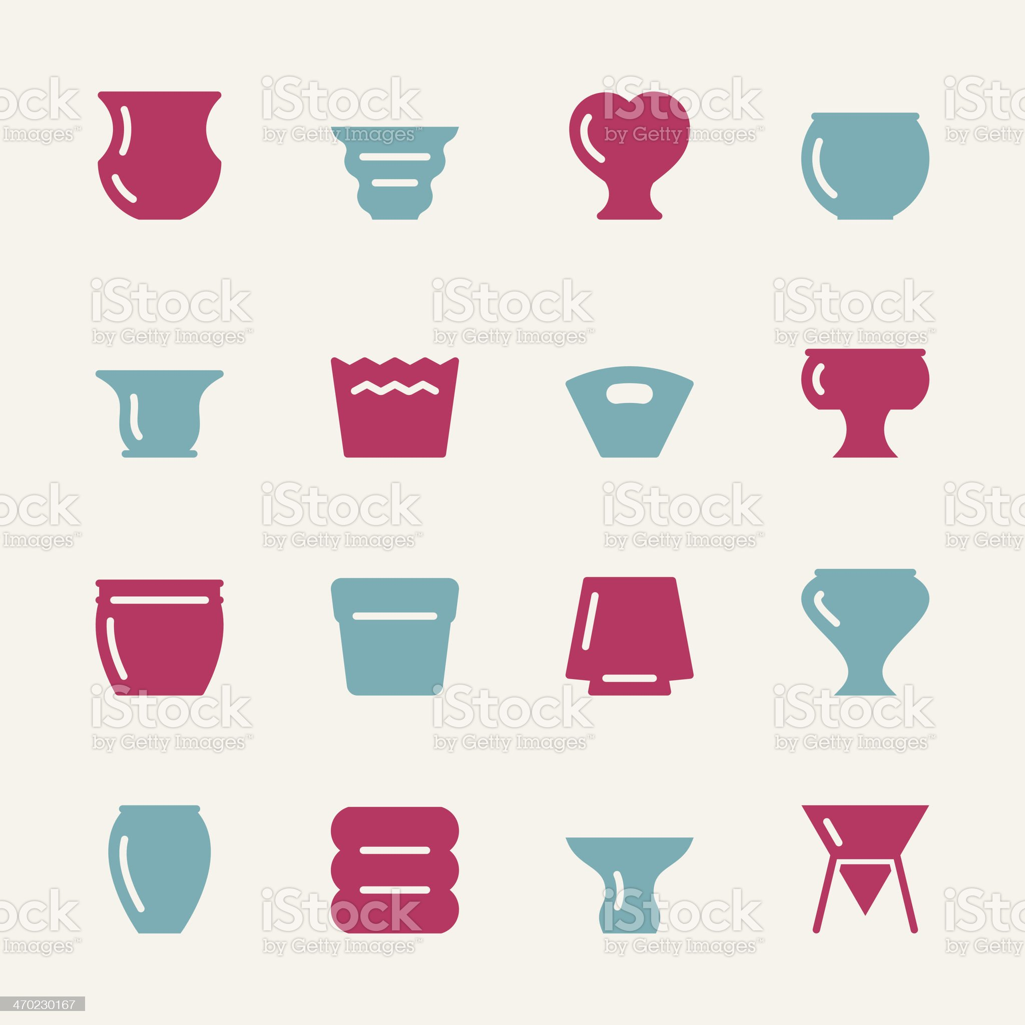 Pot Icons - Color Series royalty-free stock vector art