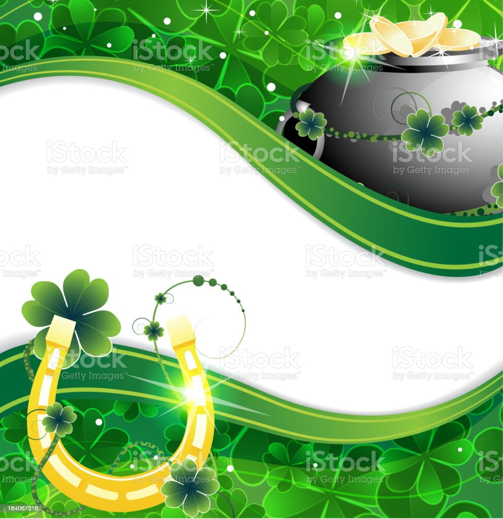Pot of gold coins and  horseshoe royalty-free stock vector art