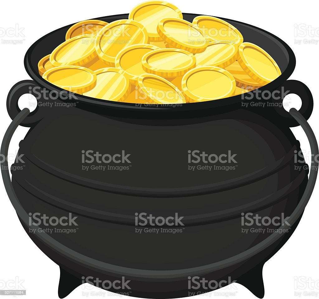 Pot of gold coins isolated on white. Vector illustration. vector art illustration