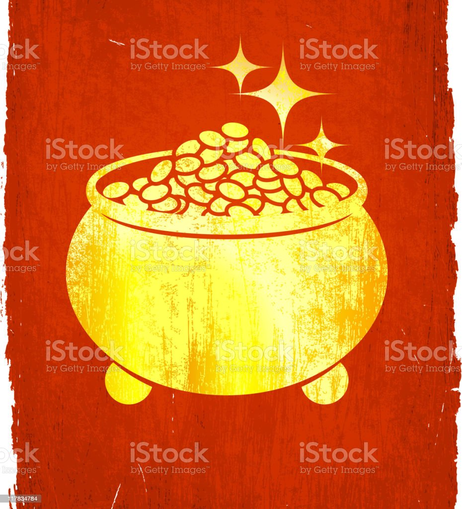 pot of gold on royalty free vector Background royalty-free stock vector art