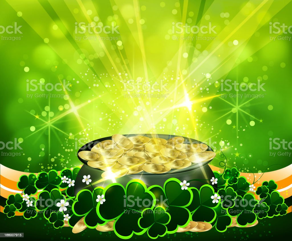 Pot of Gold - St Patrick's Day Background royalty-free stock vector art