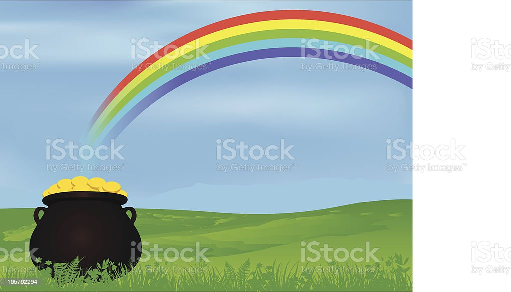 Pot of Gold Under Rainbow vector art illustration