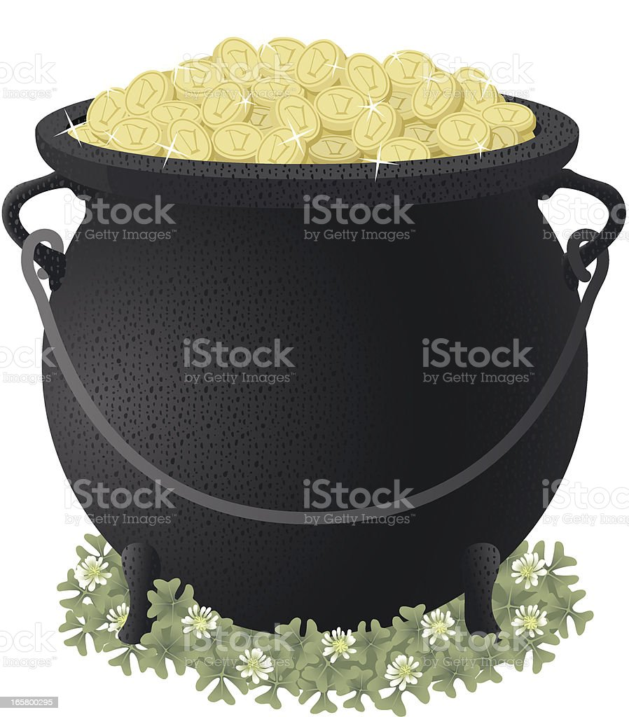 Pot of Gold With Coins and Clover vector art illustration