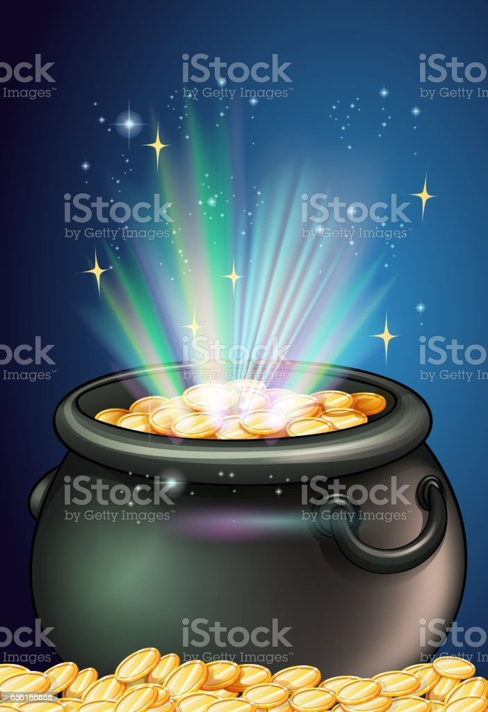 Pot of golden coins vector art illustration