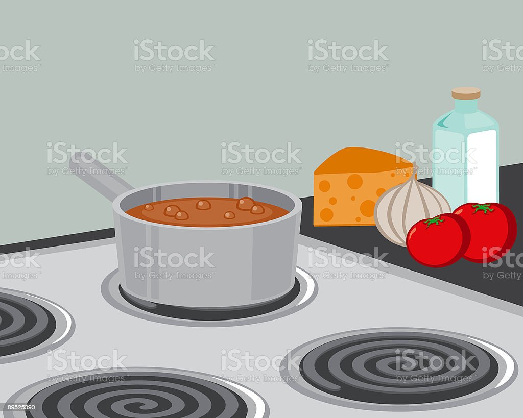 Pot on the Stove vector art illustration