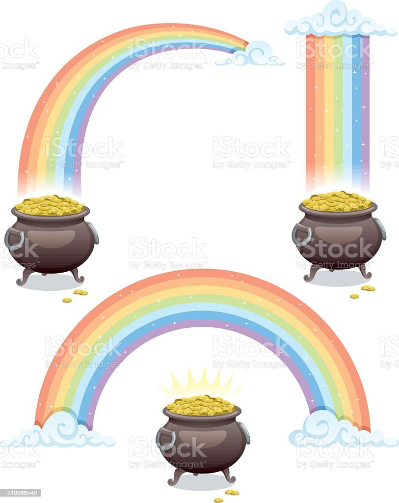 Pot & Rainbow vector art illustration