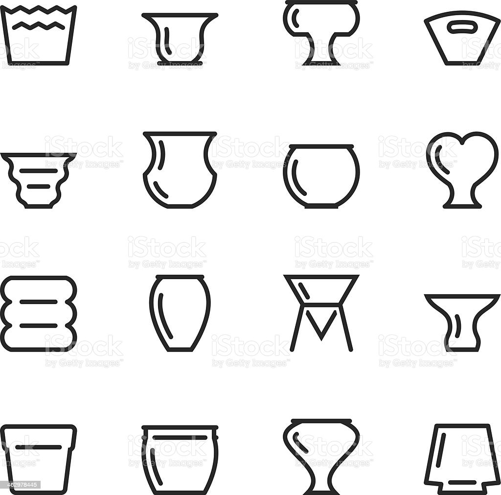 Pot Silhouette Icons vector art illustration