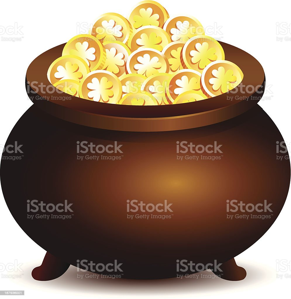 Pot with golden coins royalty-free stock vector art