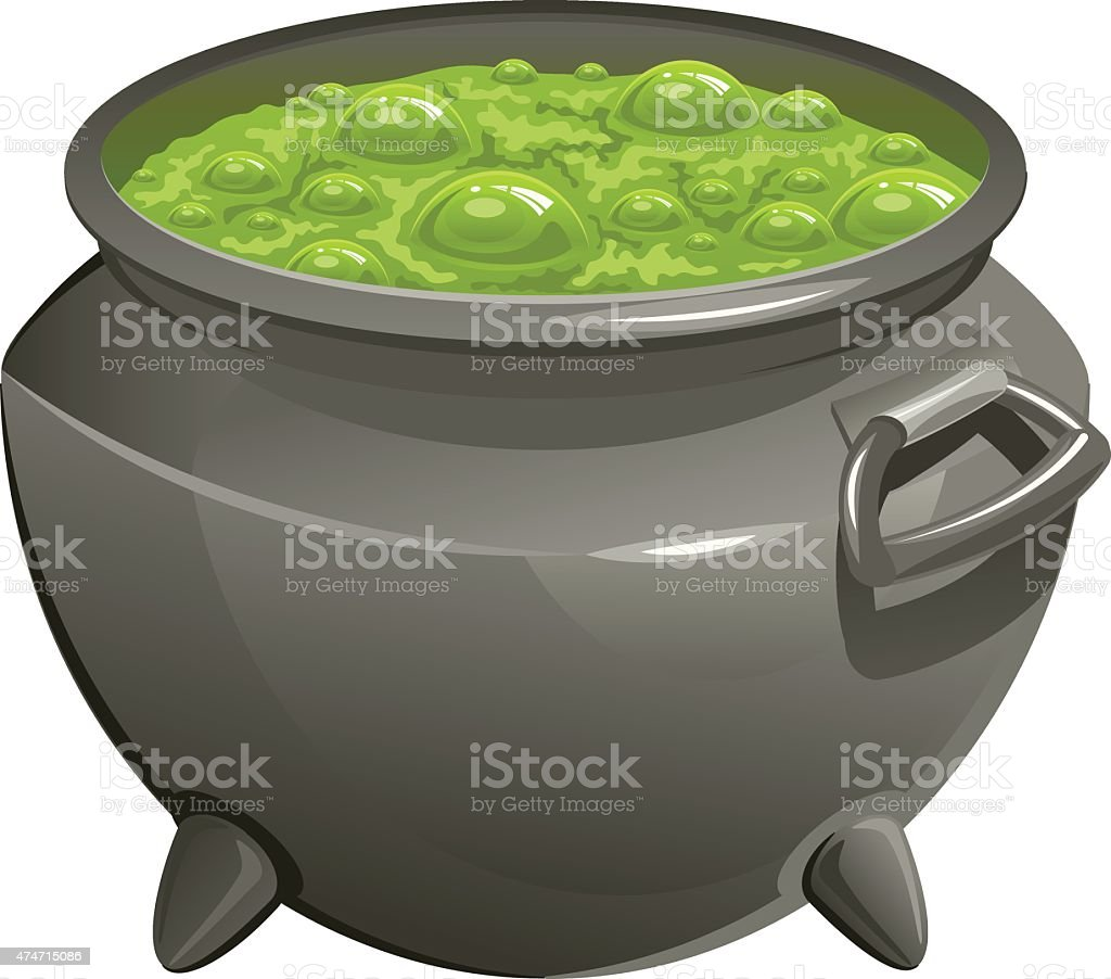 Pot with green magic potion vector art illustration
