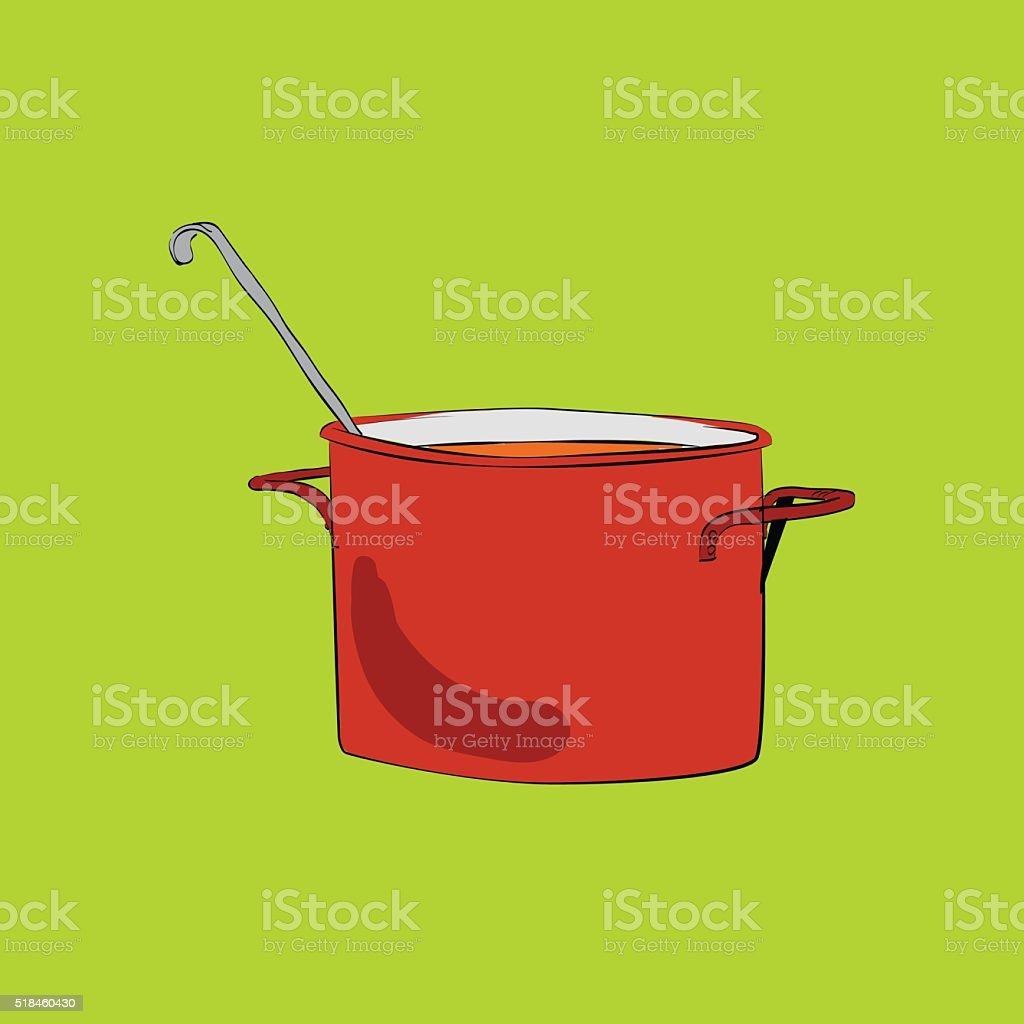 Pot with ladle vector illustration vector art illustration