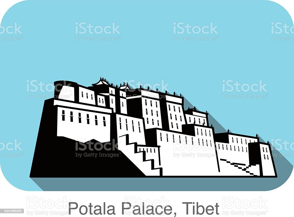 Potala Palace.  Landmark of the world series vector art illustration