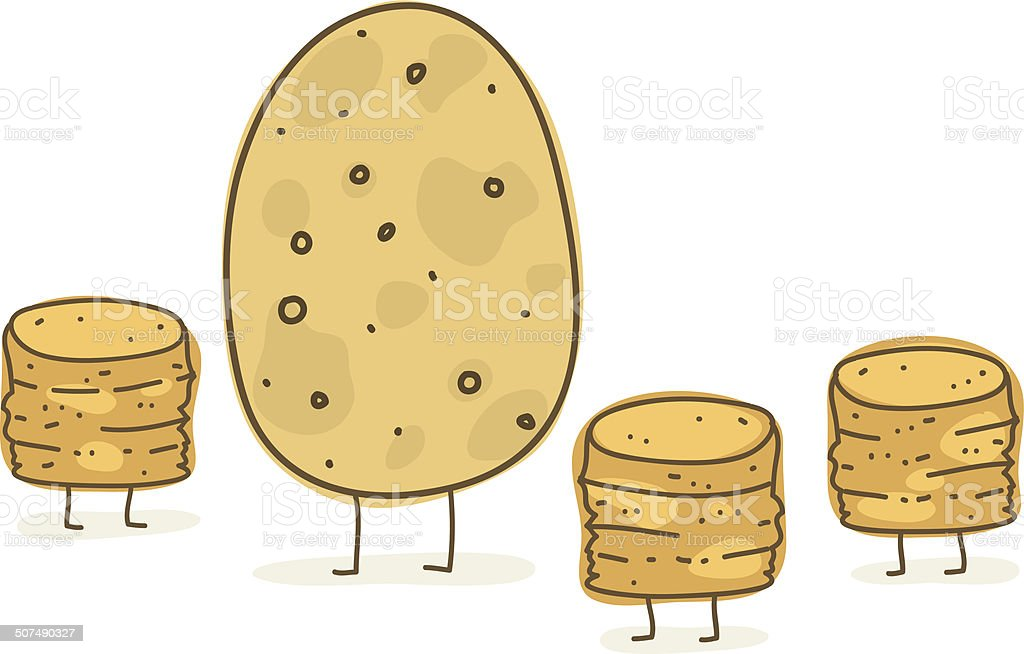 Potato and Her Tots vector art illustration