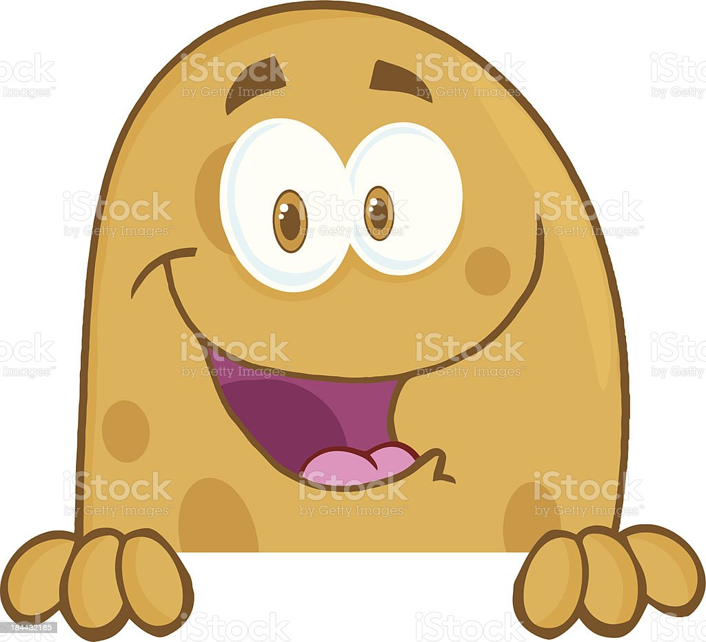 Potato Cartoon Mascot Character Over A Sign vector art illustration
