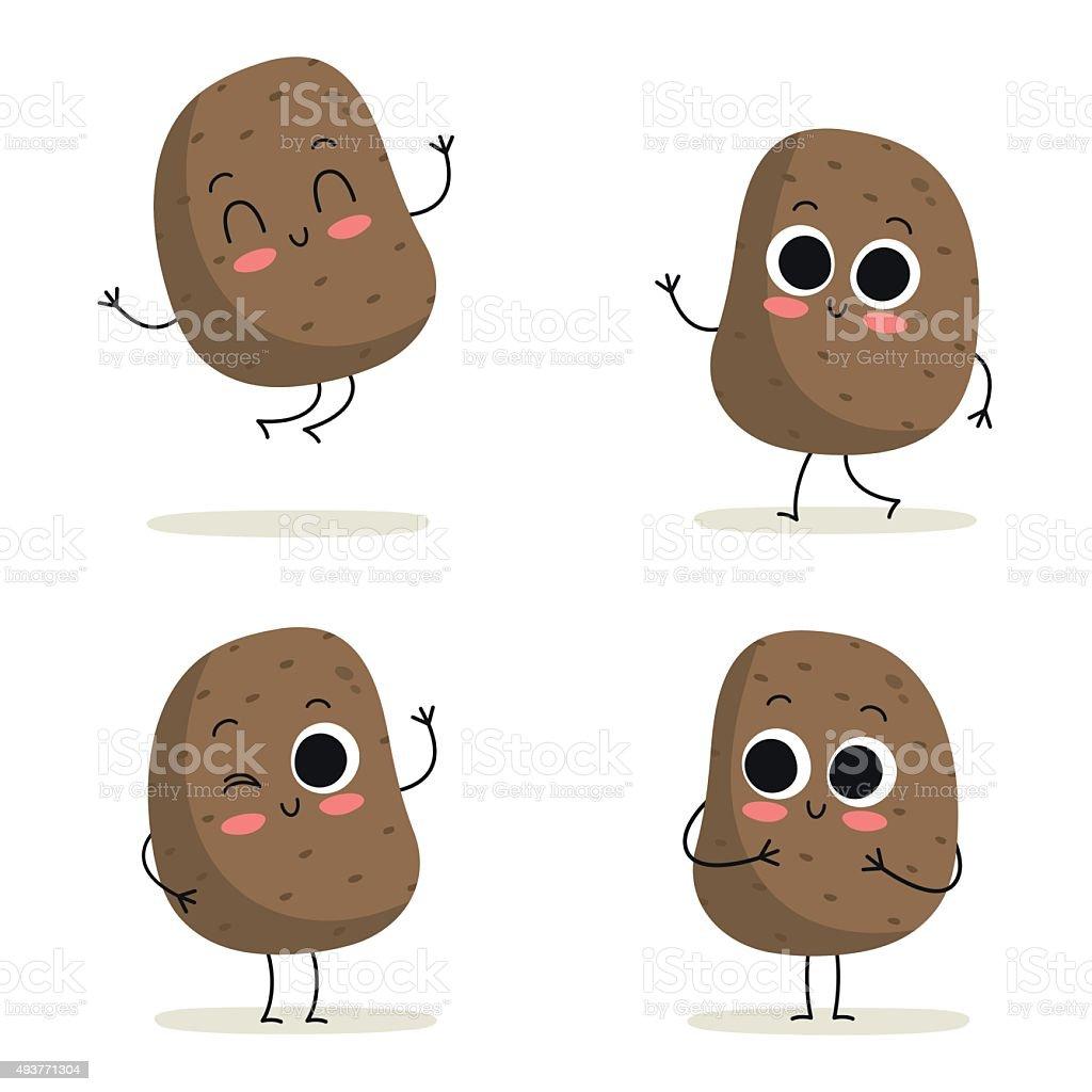 Potato. Cute vegetable character set isolated on white vector art illustration
