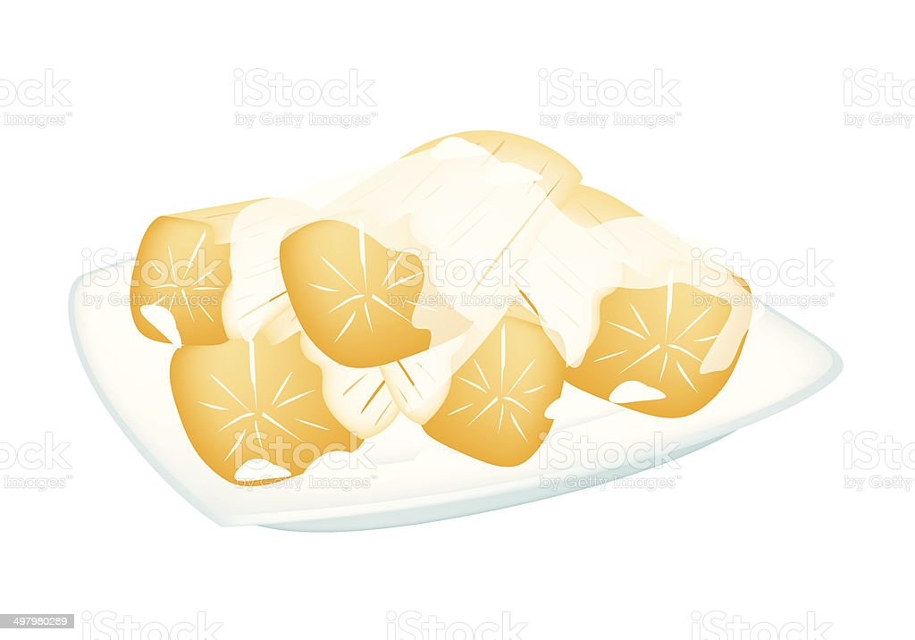 Potato in Coconut Milk on White Background vector art illustration