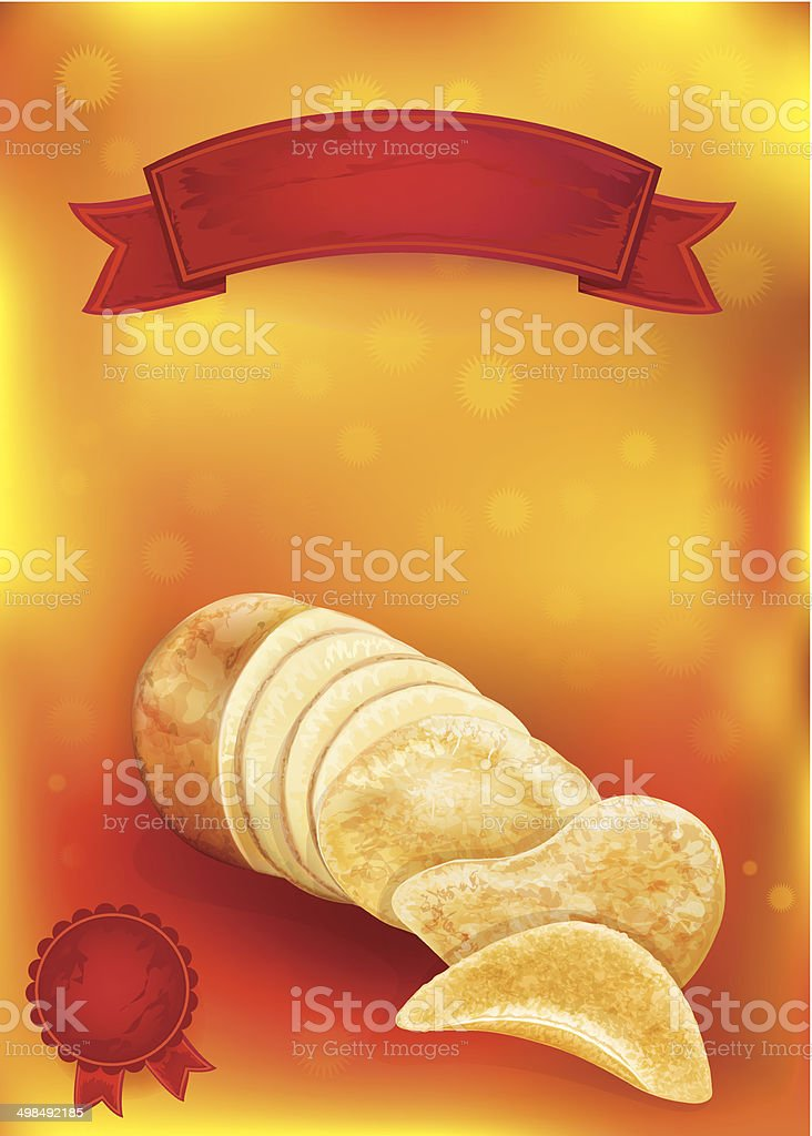 potato tuber and chips vector art illustration