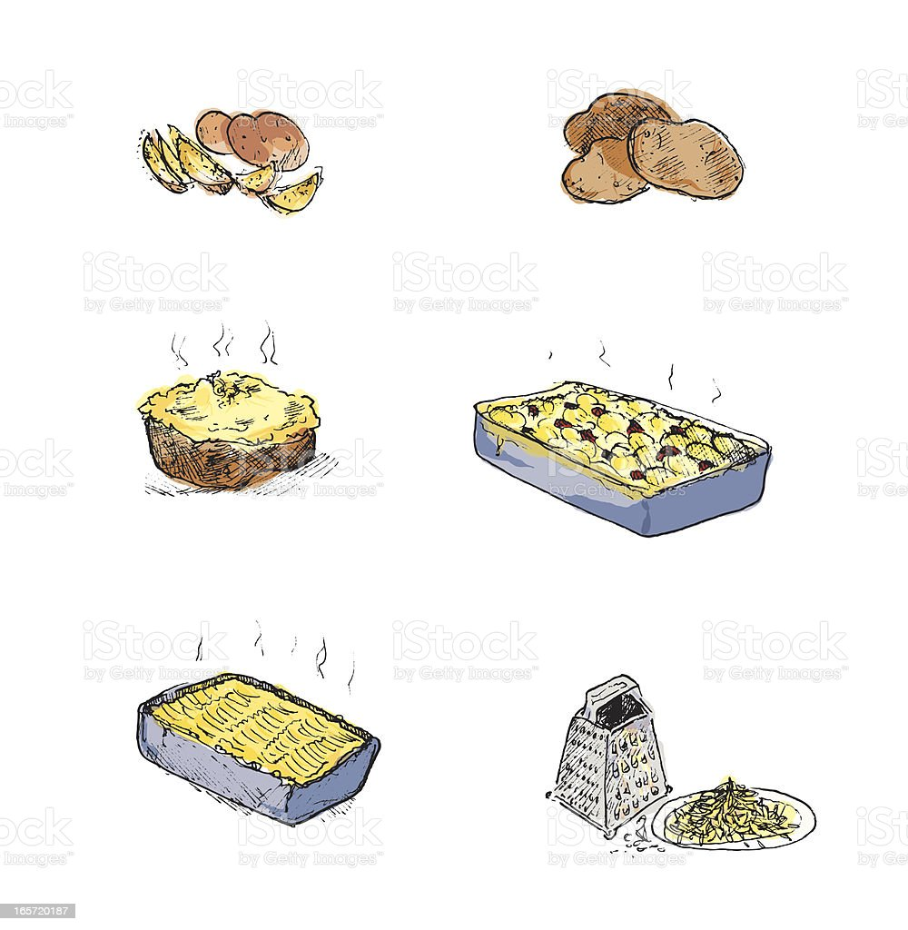 Potatoes and potato dishes (hand drawn) royalty-free stock vector art