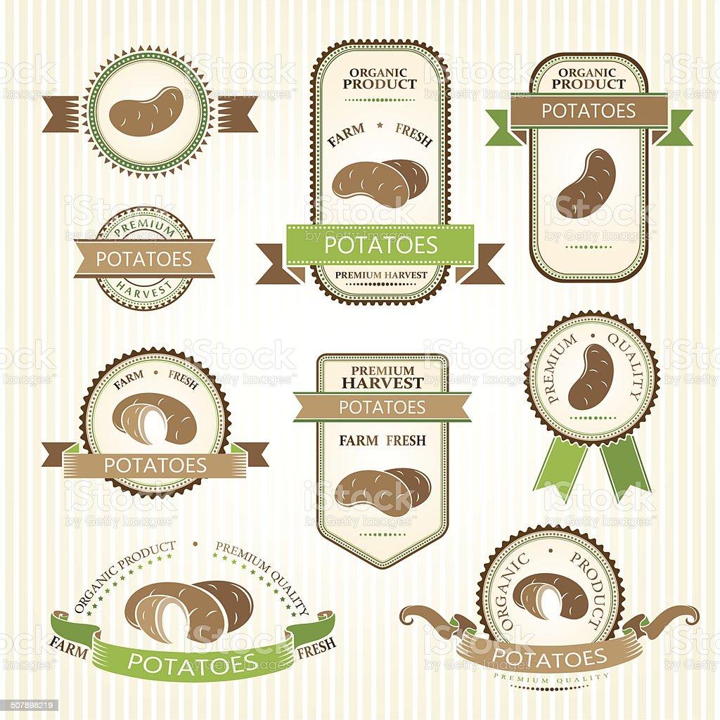 Potatoes labels. vector art illustration