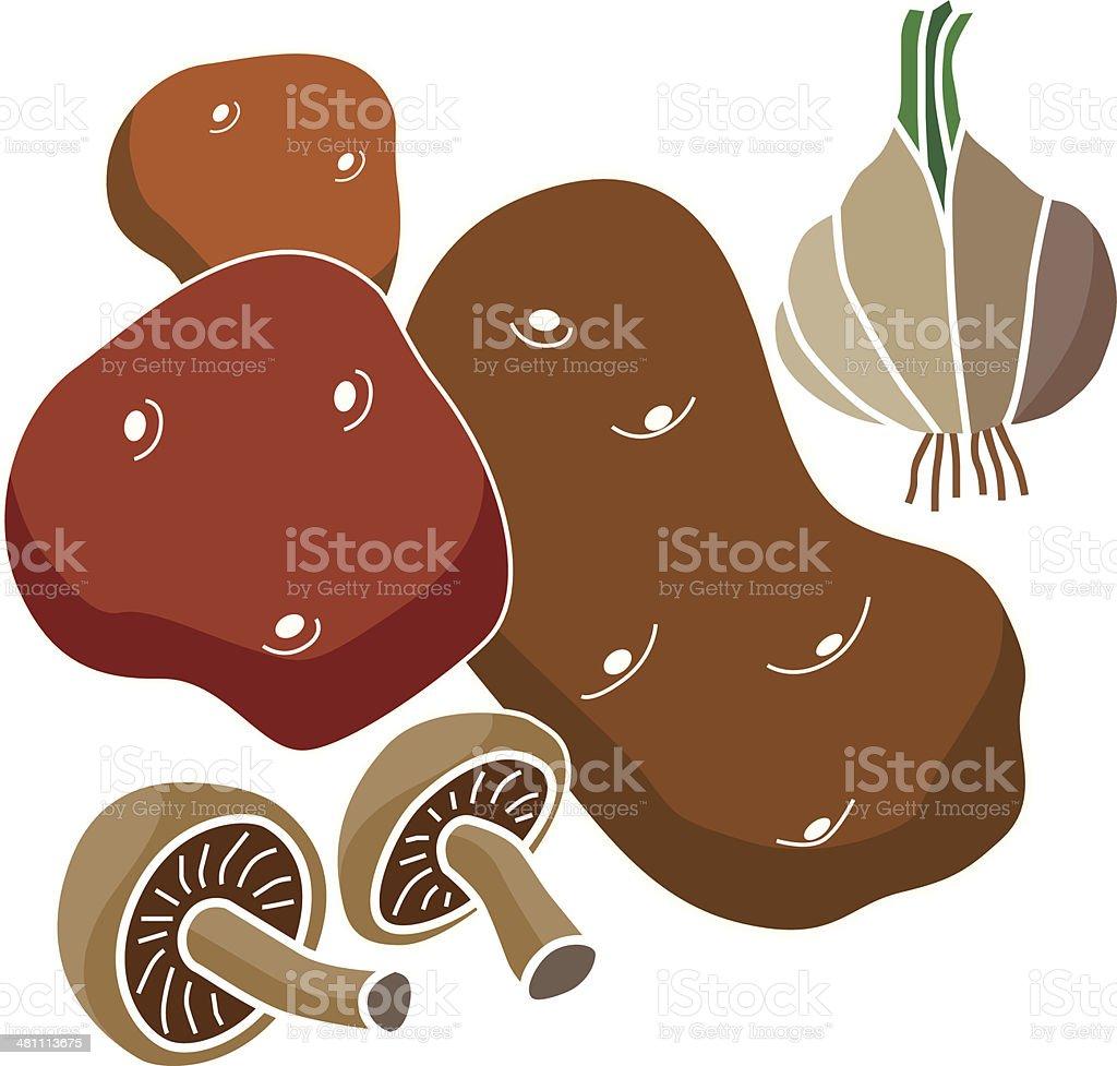 potatos mushrooms and garlic vector art illustration