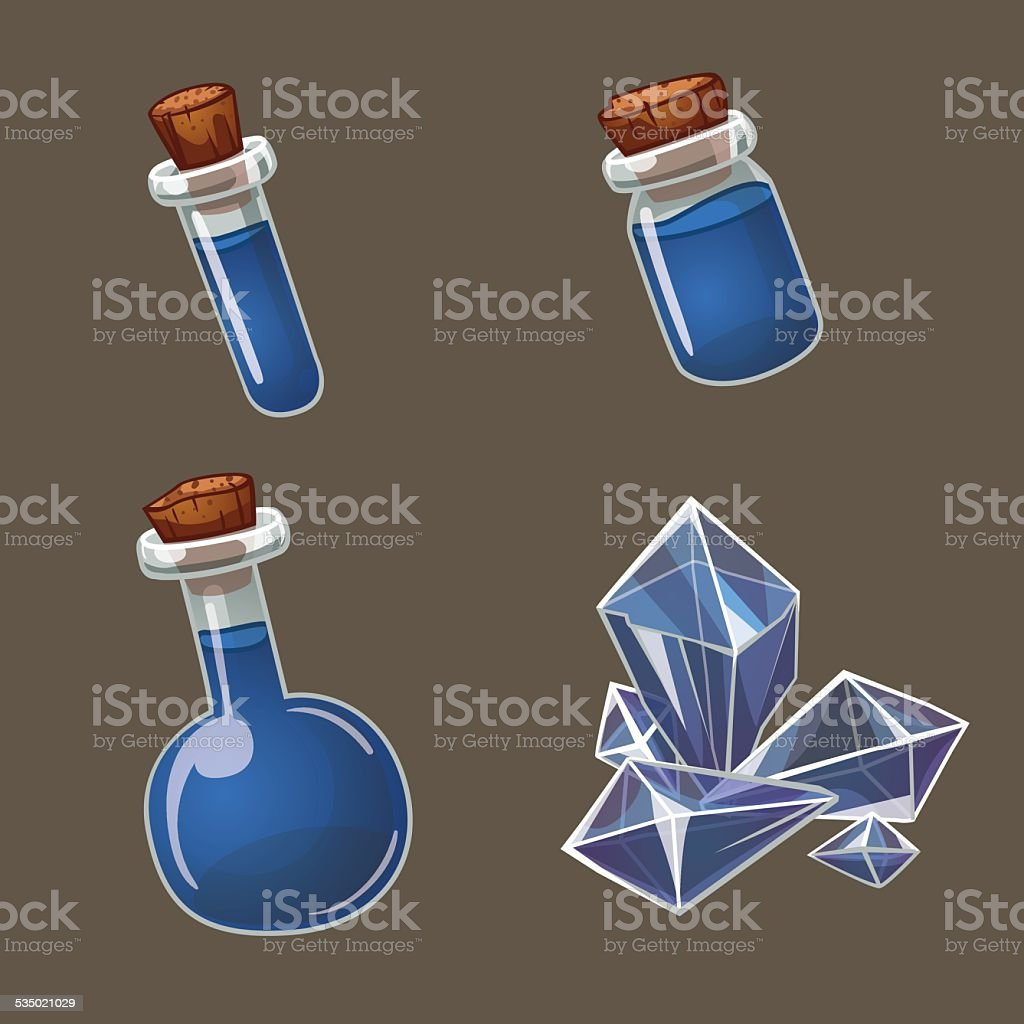 Potion and crystal vector art illustration