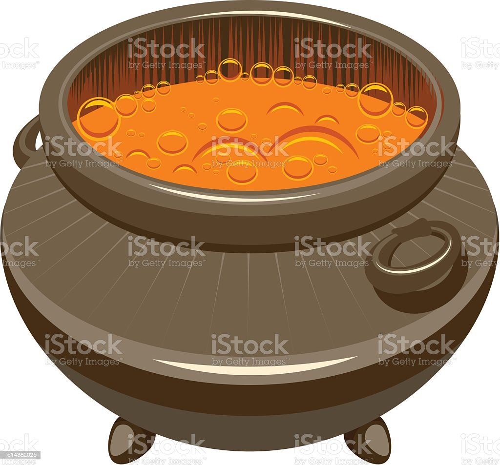 Potion brewed and boiling in the cauldron vector art illustration