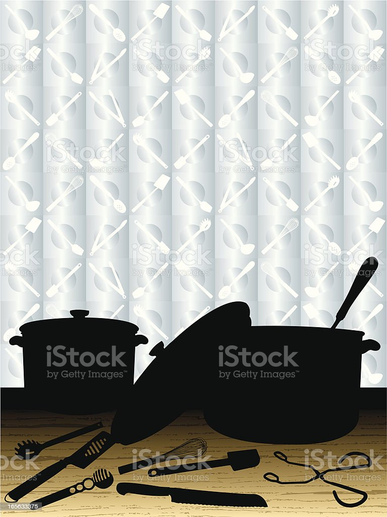 Pots and Pans - Cooking Utensils Background royalty-free stock vector art