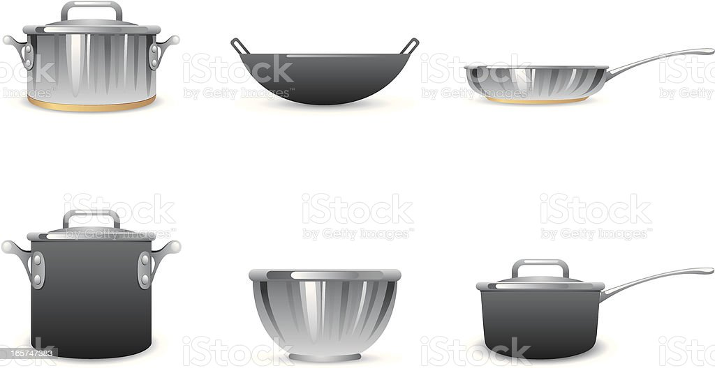Pots and Pans Icons vector art illustration
