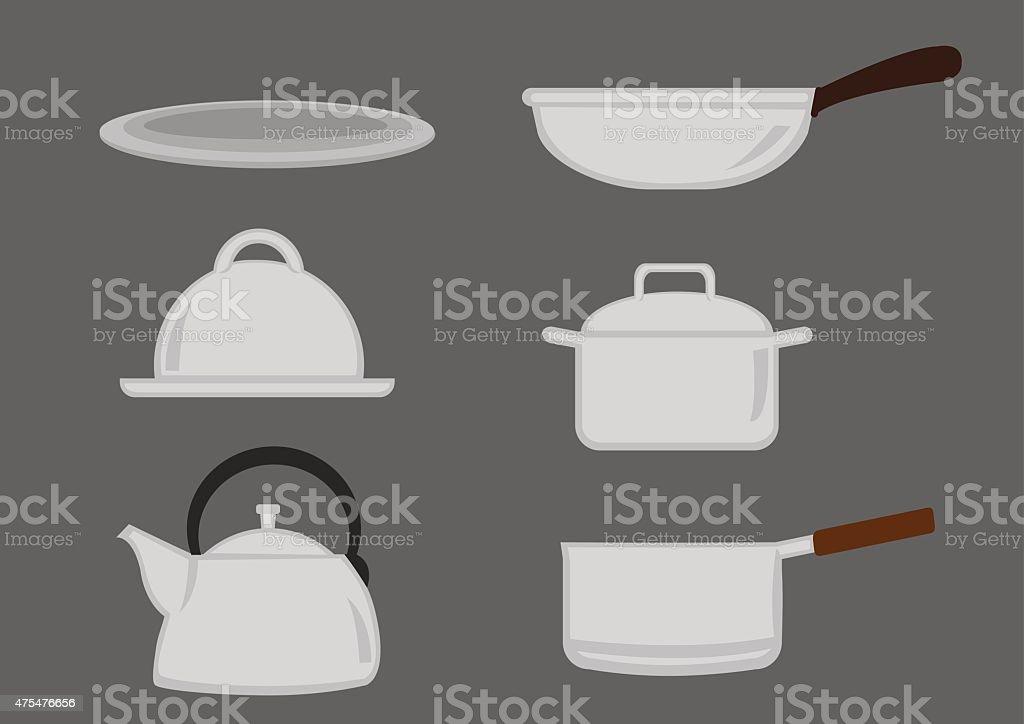 Pots and Pans Kitchen Utensil Vector Icon Set vector art illustration