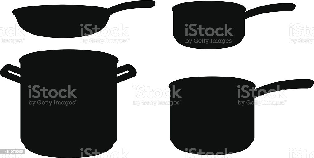 Pots and Pans Silhouettes royalty-free stock vector art
