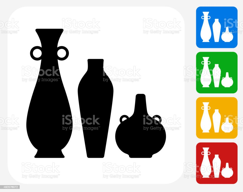 Pots and Vases Icon Flat Graphic Design vector art illustration