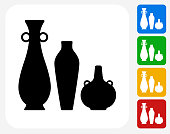 Pots and Vases Icon Flat Graphic Design
