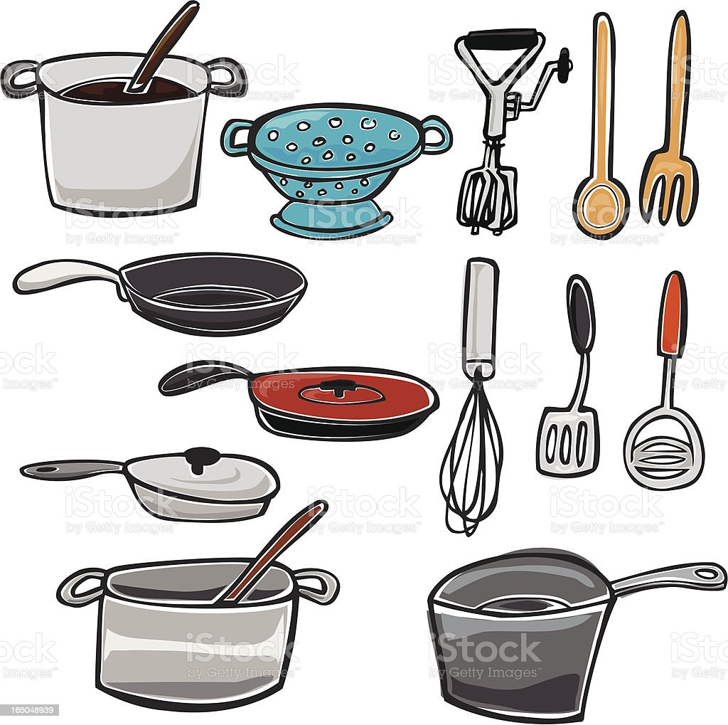 Pots, Pans, and other kitchen Utensils royalty-free stock vector art