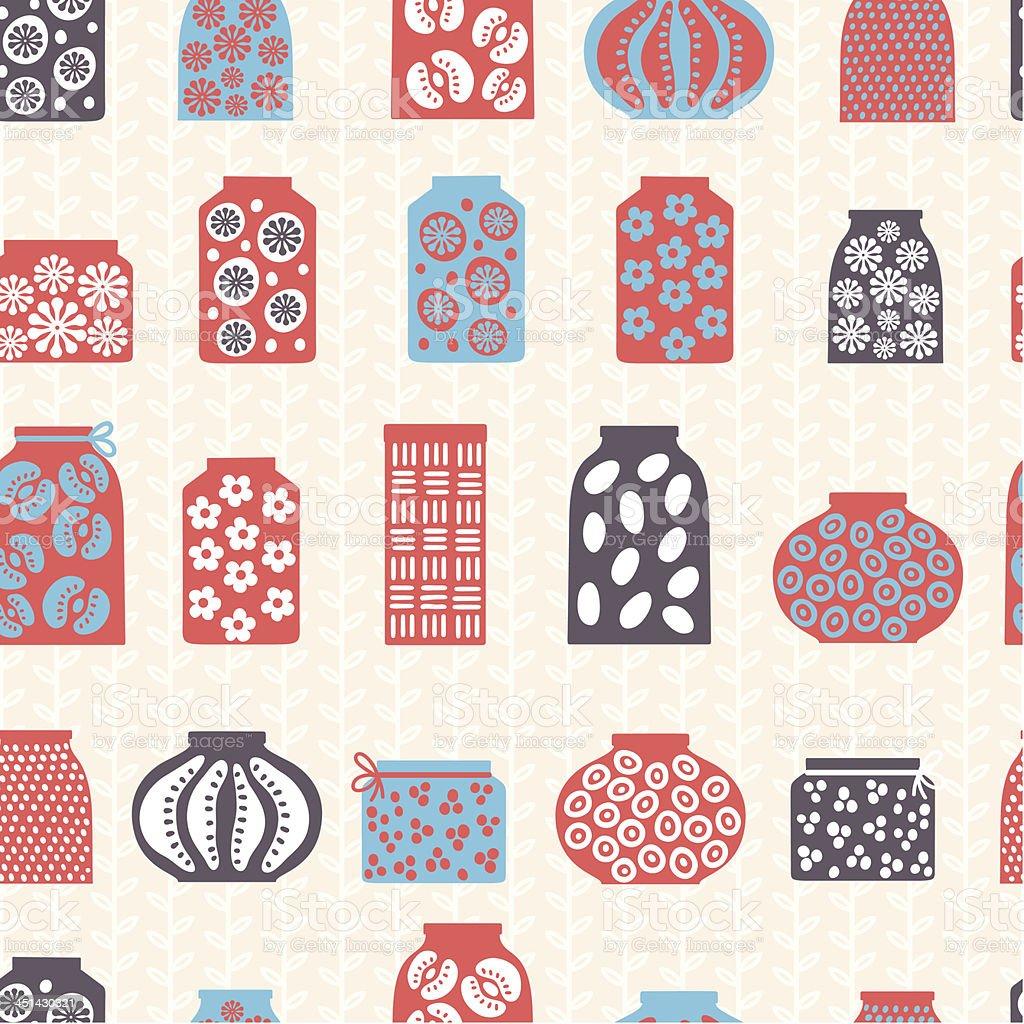 Pots seamless pattern vector art illustration