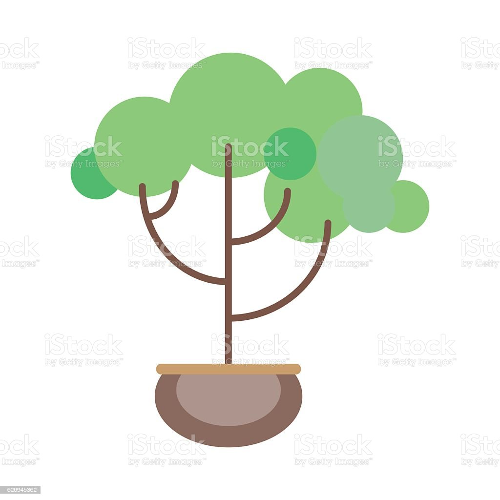 Potted plant in a flat style vector art illustration