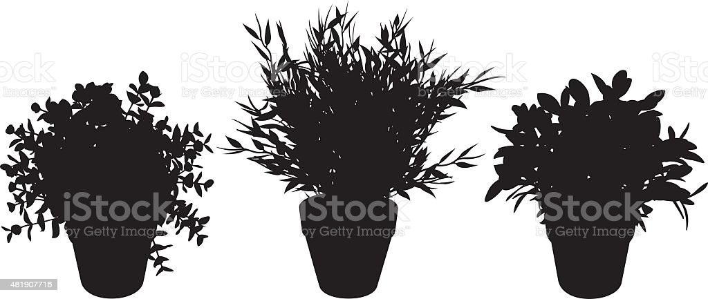 Potted Plant Silhouettes vector art illustration