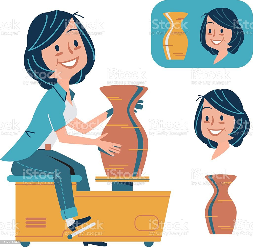 Pottery and Ceramics vector art illustration