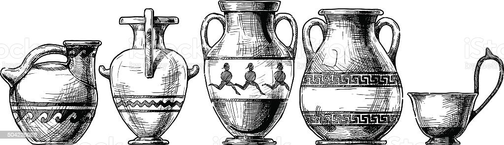 Pottery of ancient Greece. vector art illustration