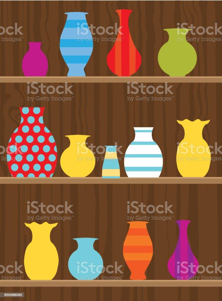Pottery on a wooden shelf vector art illustration