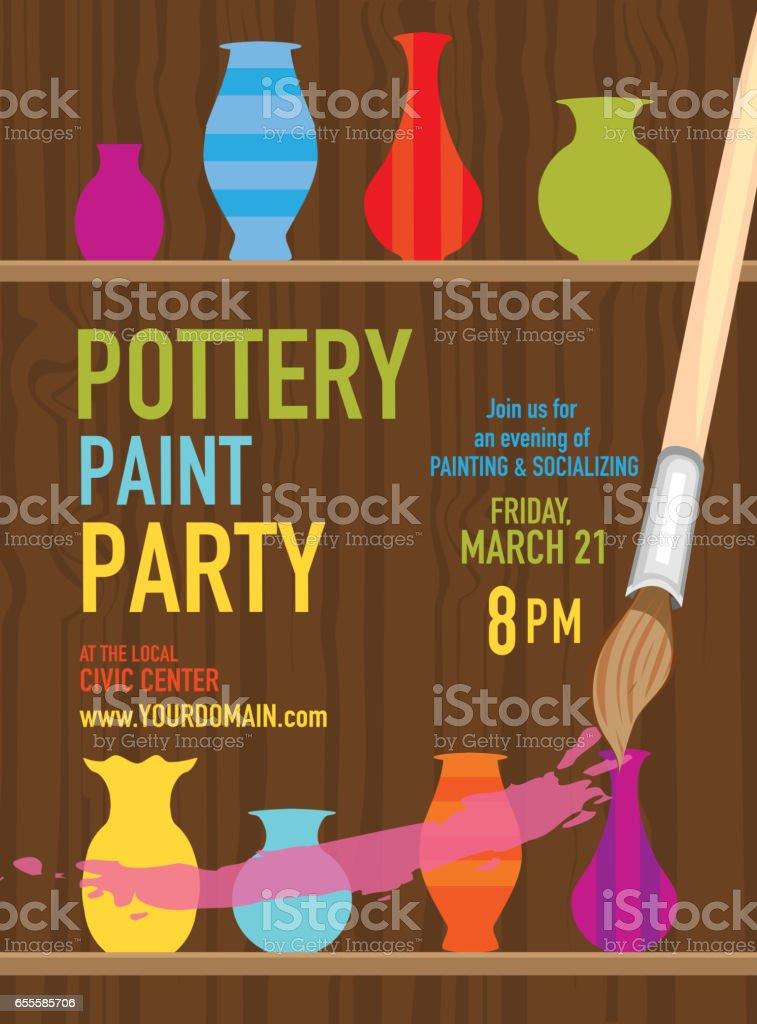 Pottery Paint party invitation design template vector art illustration