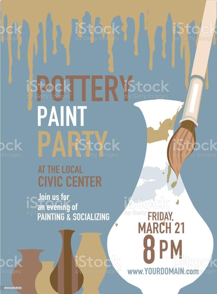 Pottery party invitation design template vector art illustration
