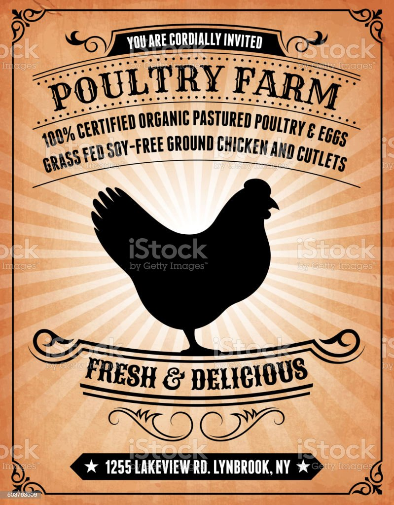 Poultry Farm on royalty free vector Background Poster vector art illustration