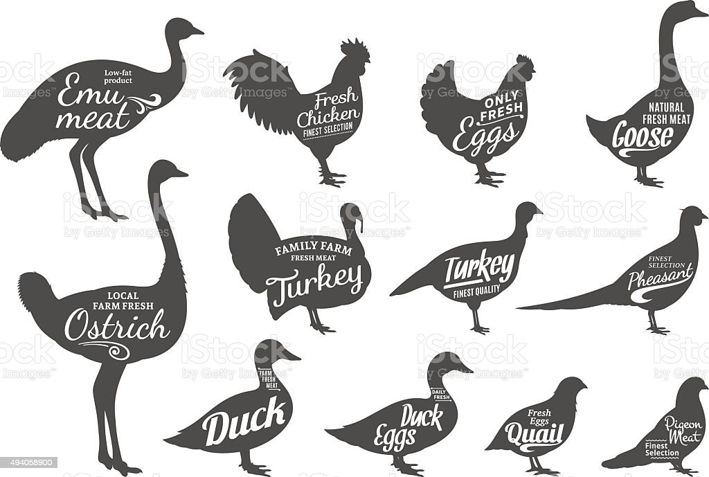 Poultry Silhouettes Collection, Butchery Labels Templates vector art illustration