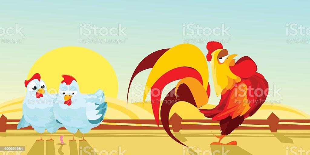 poultry yard. farm. two hens and a rooster. Vector illustration vector art illustration
