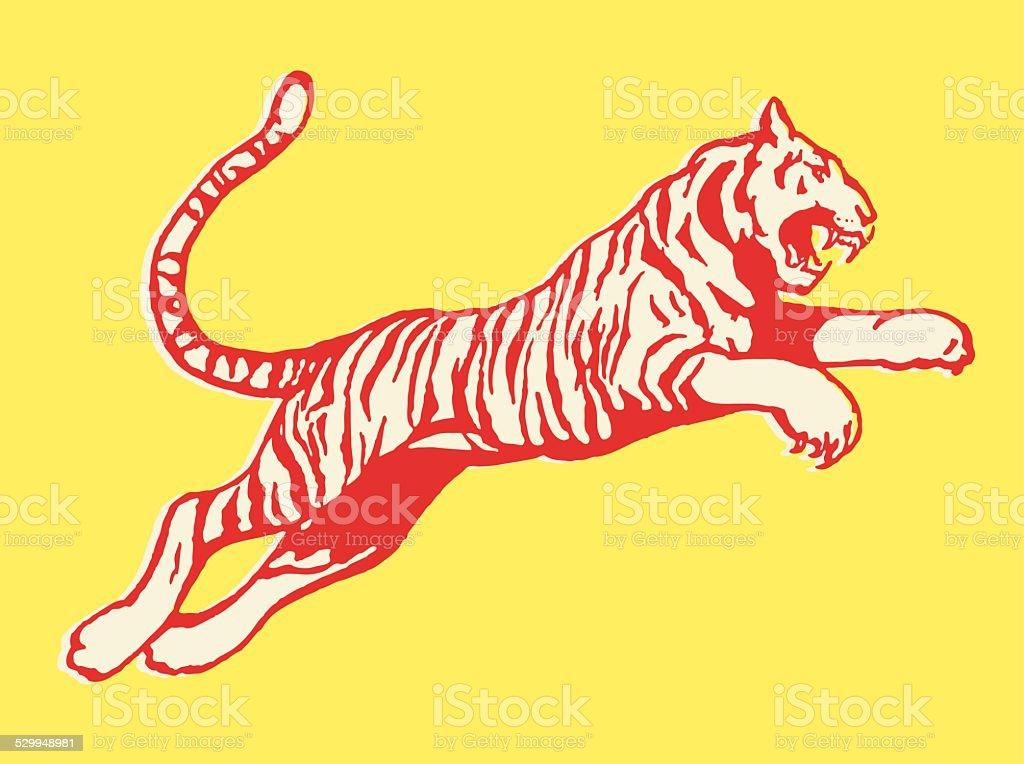 Pouncing Tiger vector art illustration