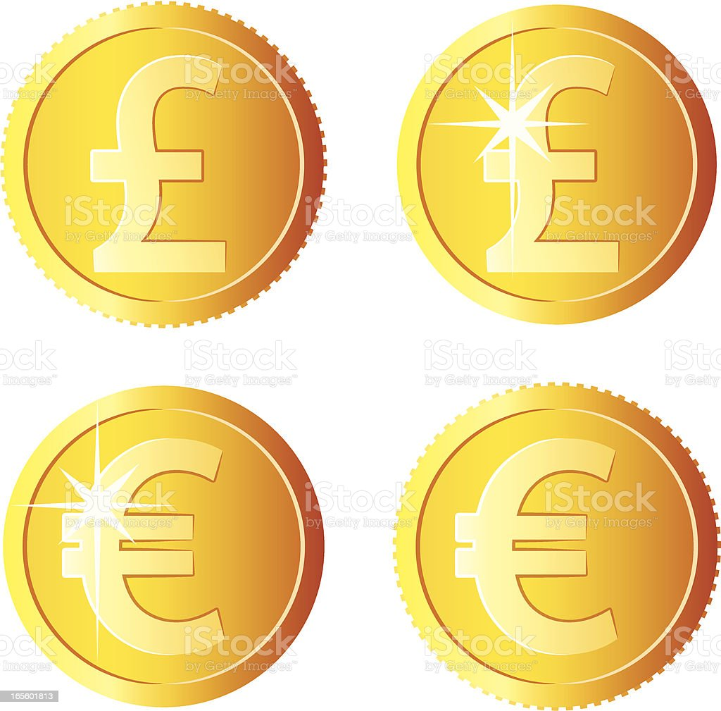 Pound and euro coins vector art illustration