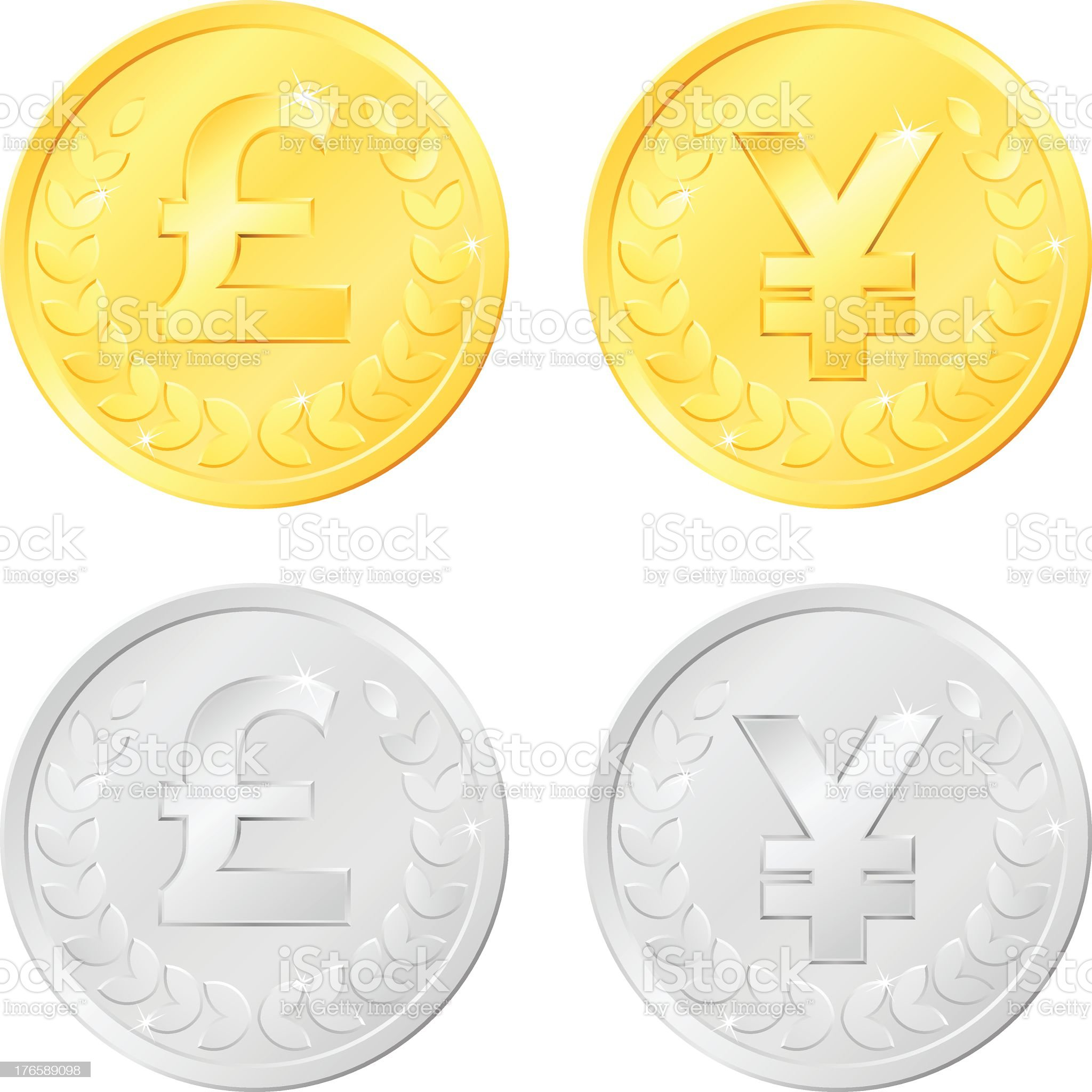 Pound and Yen Coins royalty-free stock vector art