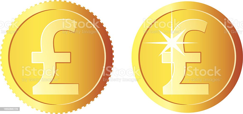 Pound coins vector art illustration