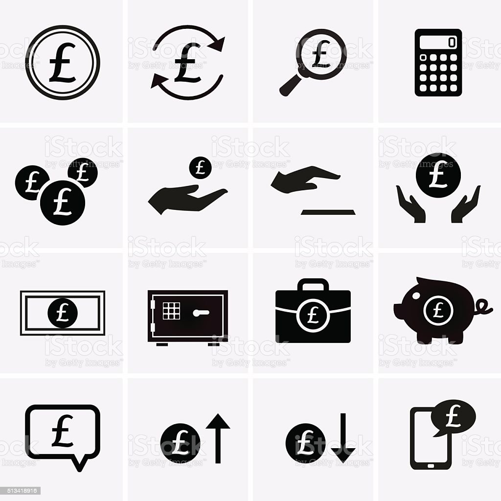 Pound Finance and Money Icons vector art illustration