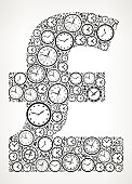Pound on Time and Clock Vector Icon Pattern